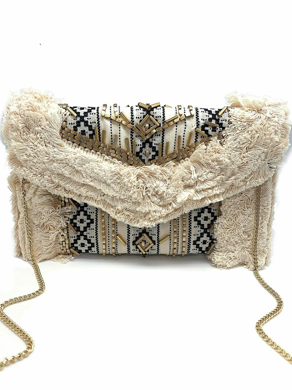 La Chic Aztec Fringe Bag