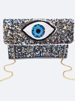 La Chic Evil Eye Sequin Bag