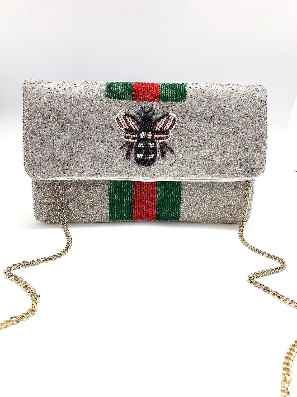 La Chic Bee You Silver Beaded Bag