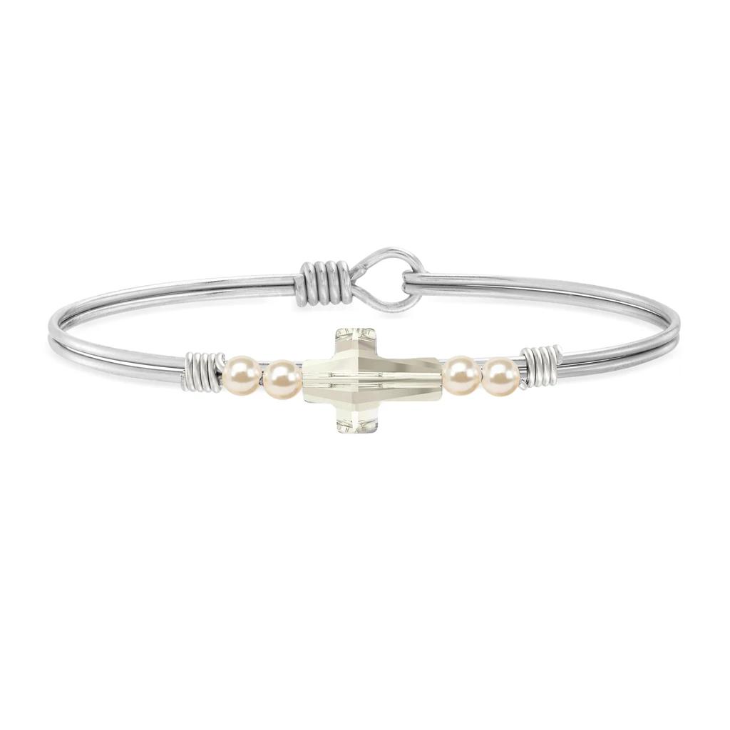 Luca + Danni Crystal Pearl Cross Bracelet