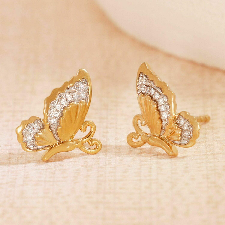 Ella Stein Beautiful Butterfly Earrings (Gold)