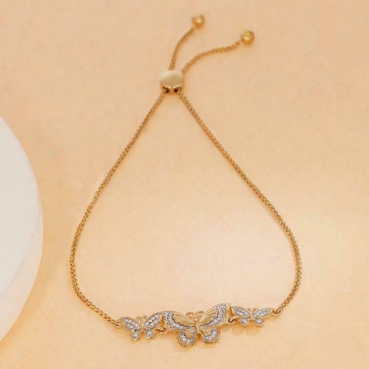 Ella Stein Symbol of Change Butterfly Bolo Bracelet (Gold)