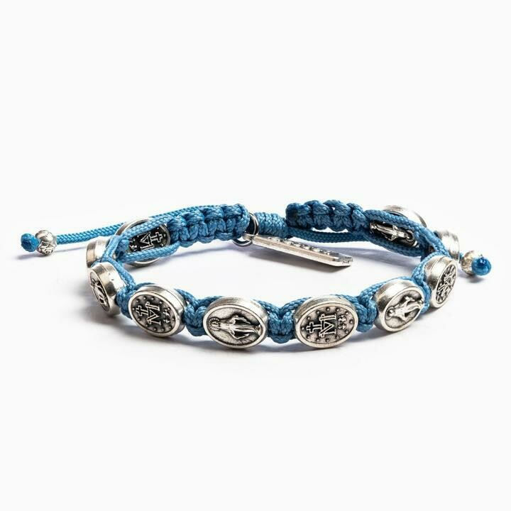 MSMH Miraculous Mary Blessing Bracelet (Silver/Light Blue)