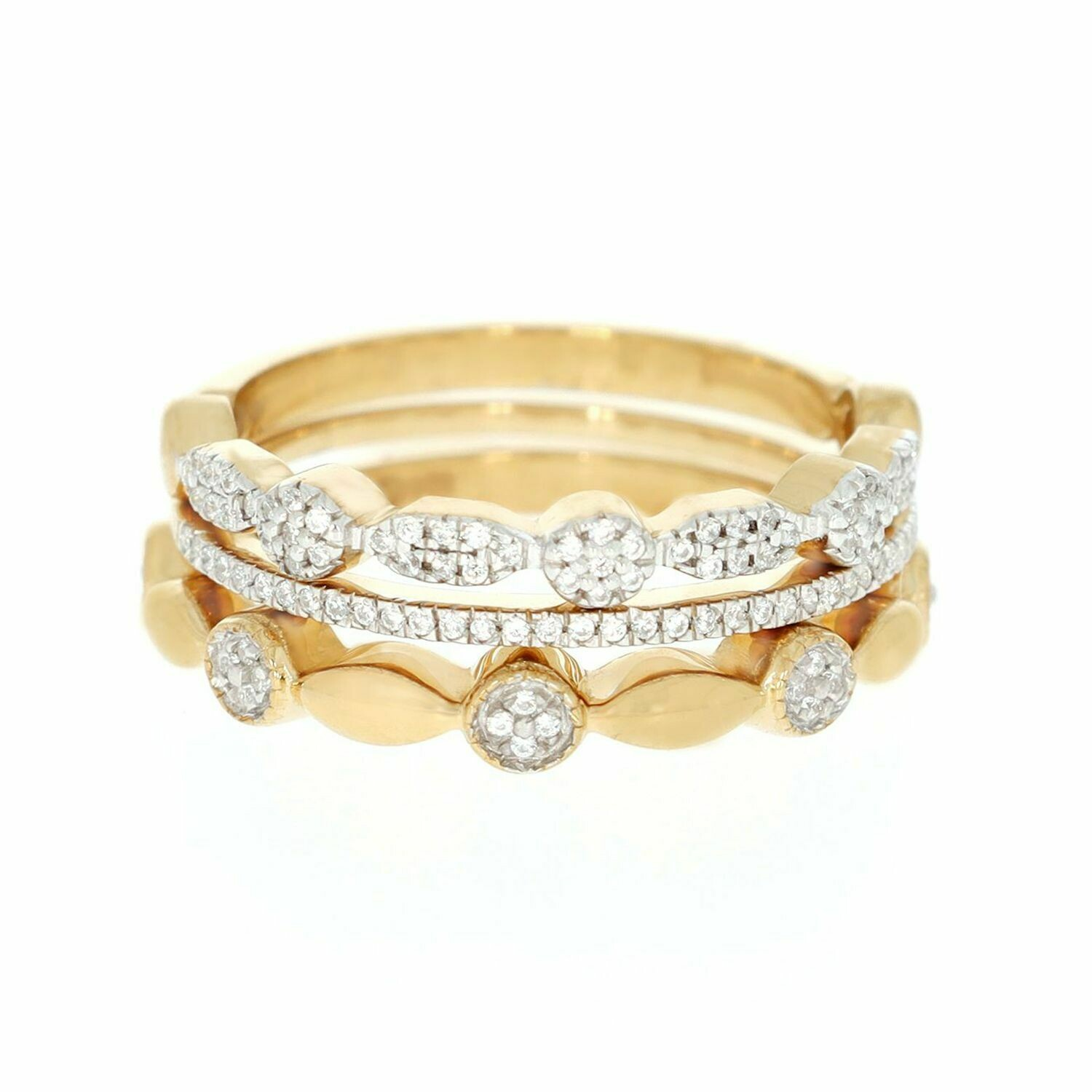 Ella Stein Shiny Three Ring Stack (Gold)