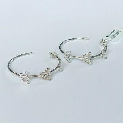 Ella Stein Beautiful Butterfly Hoop Earrings (Silver)