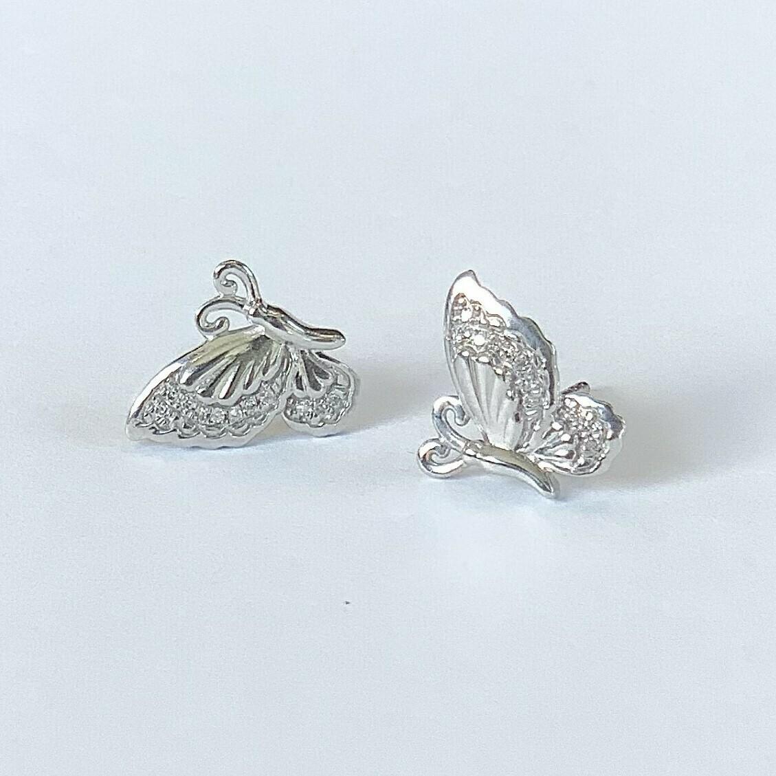 Ella Stein Beautiful Butterfly Earrings (Silver)