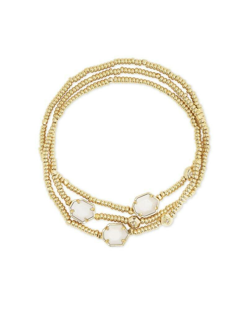 Kendra Scott Tomon Gold Stretch Bracelet in White Mussel