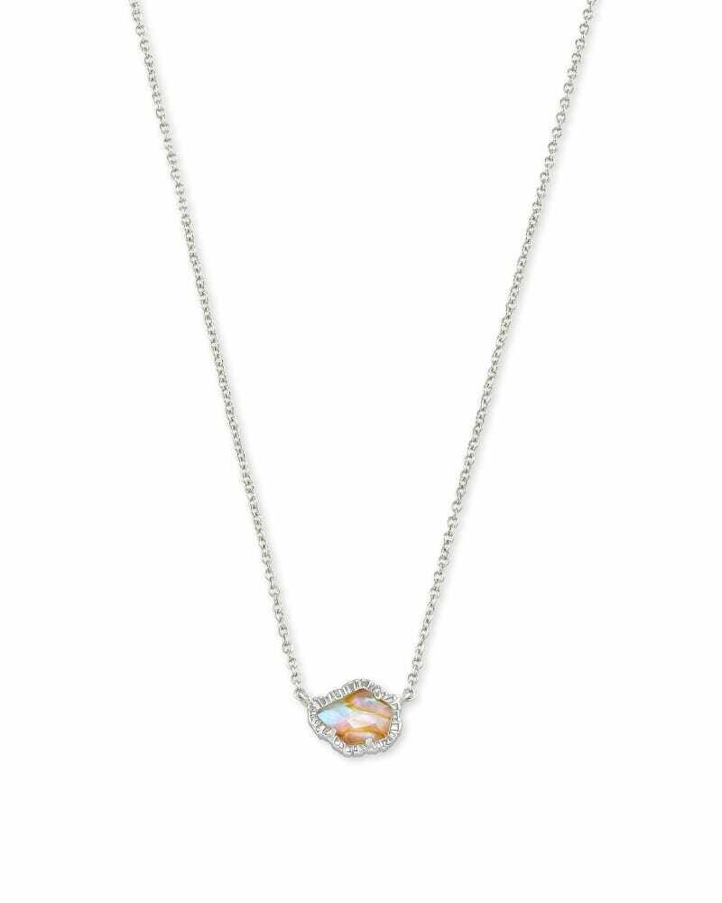 Kendra Scott Tessa Silver Small Pendant Necklace in Iridescent Abalone