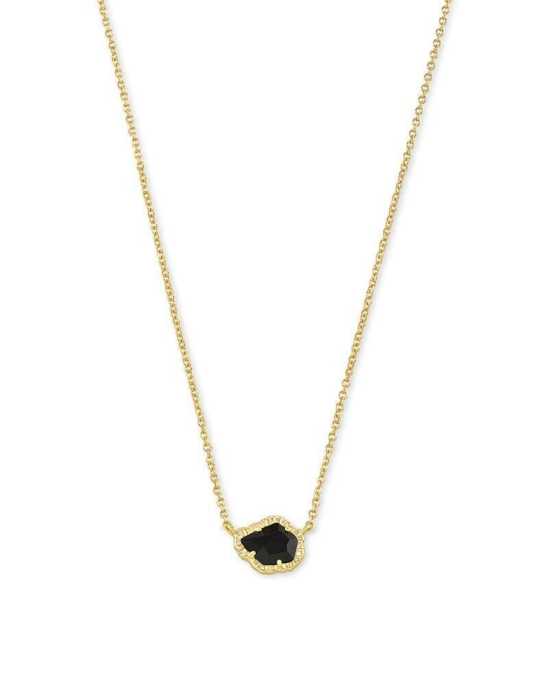 Kendra Scott Tessa Gold Small Pendant Necklace in Black Obsidian