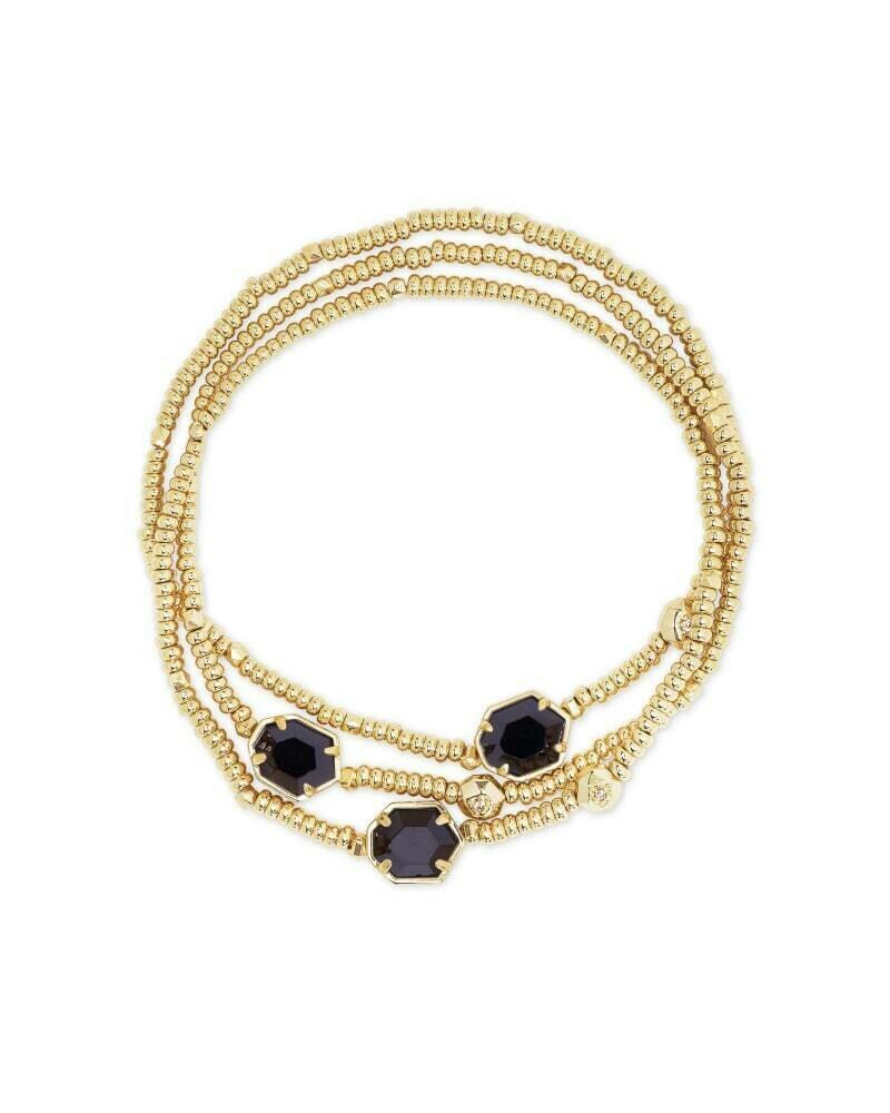 Kendra Scott Tomon Gold Stretch Bracelet in Black Obsidian