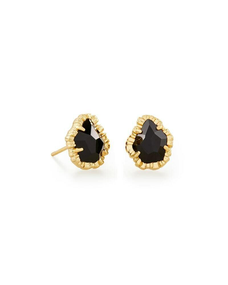 Kendra Scott Tessa Gold Small Stud Earrings in Black Obsidian
