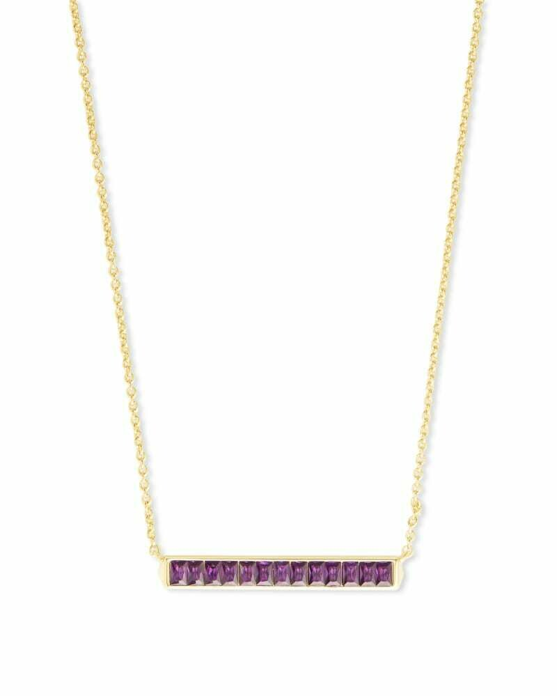Kendra Scott Jack Gold Short Pendant Necklace in Purple Crystal