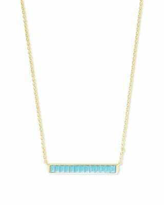 Kendra Scott Jack Gold Short Pendant Necklace in Turquoise Crystal
