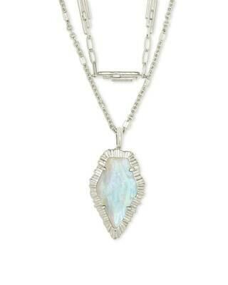 Kendra Scott Tessa Silver Multi Strand Necklace in Iridescent Abalone