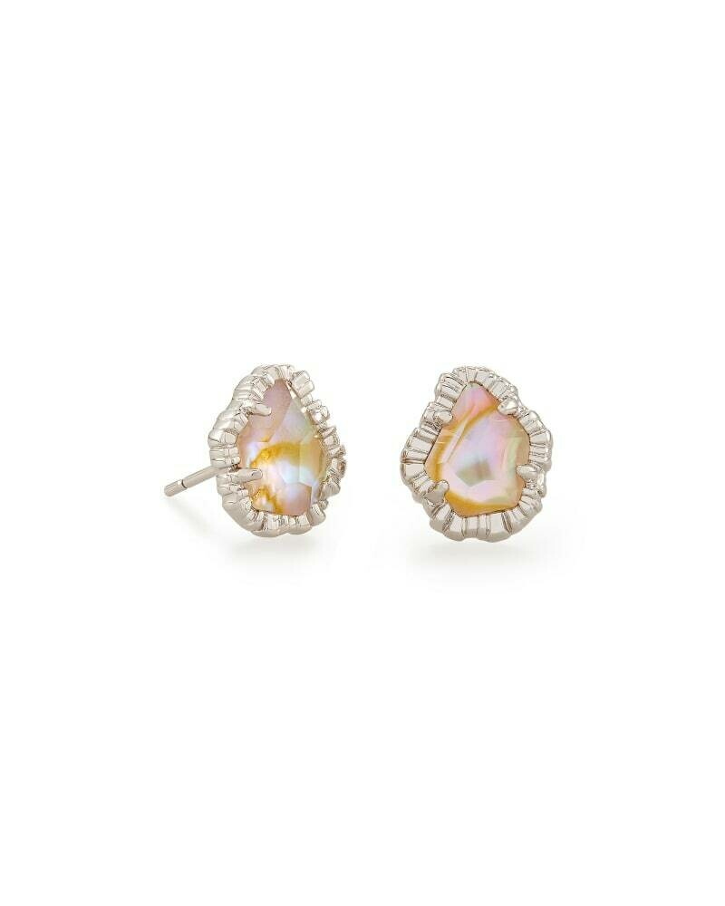 Kendra Scott Tessa Silver Small Stud Earrings in Iridescent Abalone
