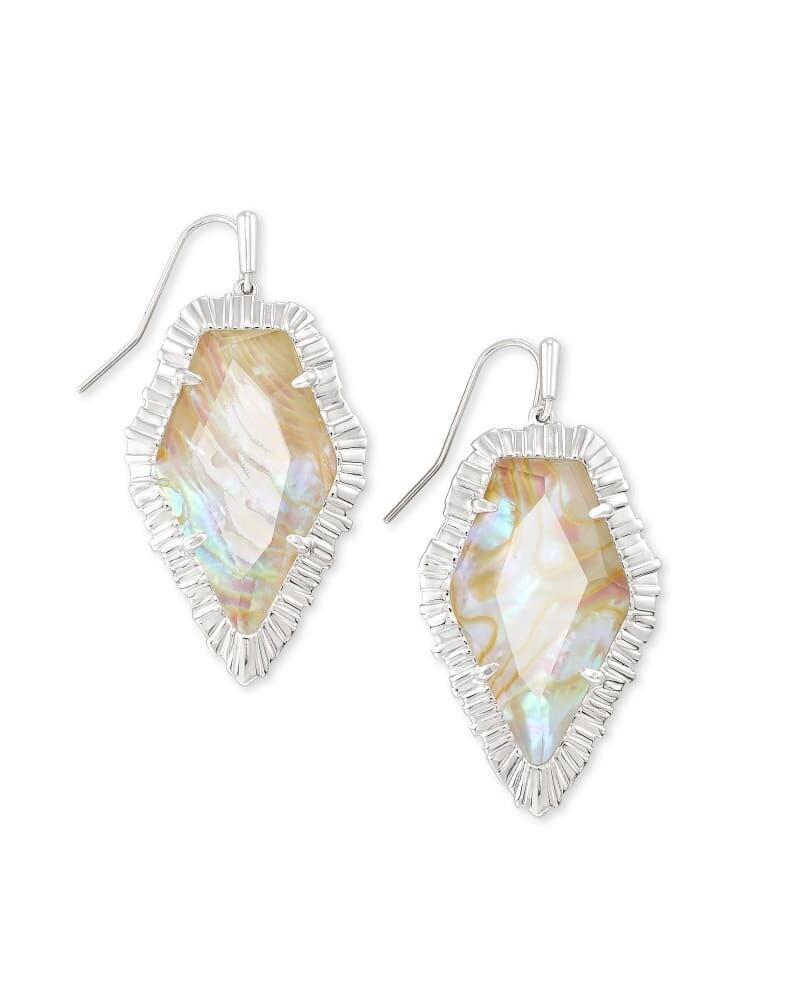 Kendra Scott Tessa Silver Drop Earrings in Iridescent Abalone