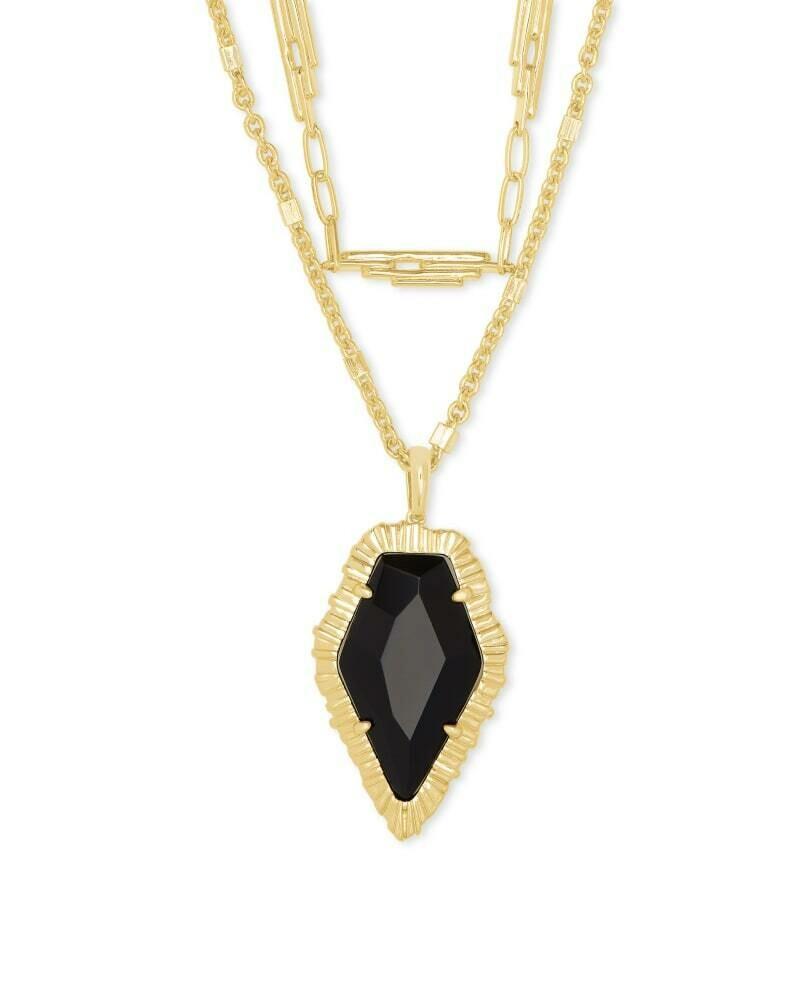 Kendra Scott Tessa Gold Multi Strand Necklace in Black Obsidian