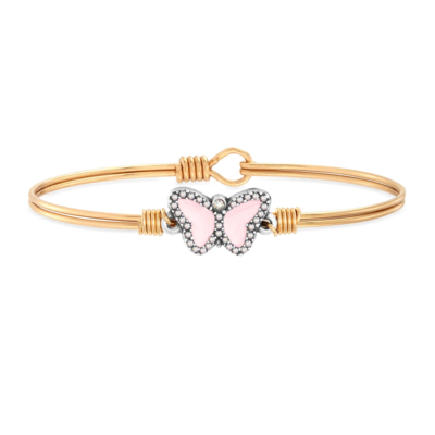 Luca + Danni Crystal Pave Butterfly Bracelet in Cotton Candy