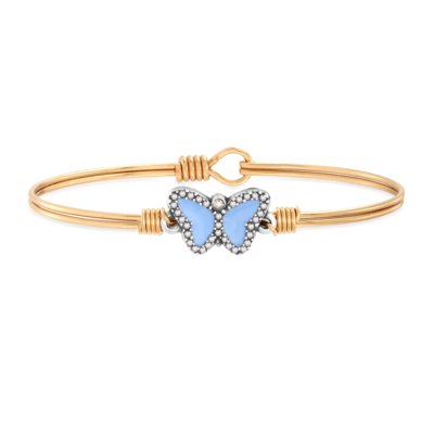 Luca + Danni Crystal Pave Butterfly Bracelet in Light Blue