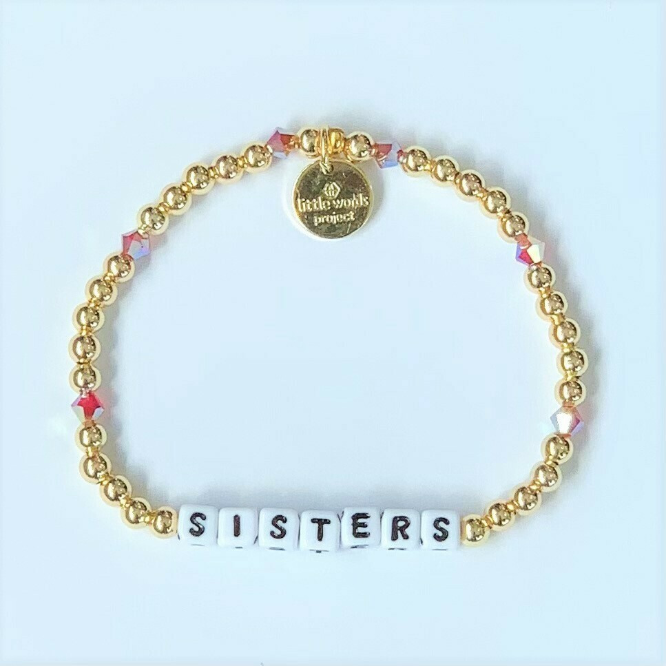 Little Words Project White SISTERS Bracelet (Gold-Filled)