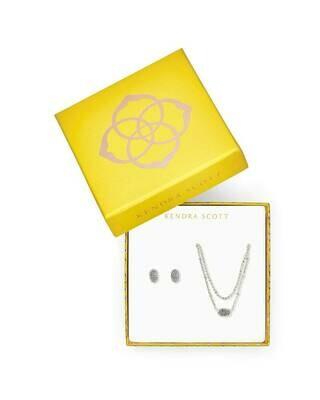 Kendra Scott Emilie Multi Strand Necklace & Earrings Gift Set in Platinum Druzy