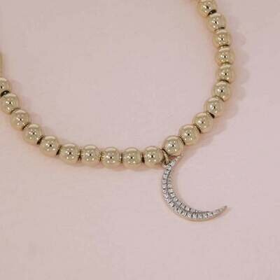 Ella Stein Crescent Moon Beaded Bracelet (Gold)