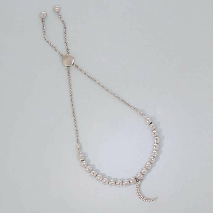 Ella Stein Crescent Moon Beaded Bracelet (Silver)