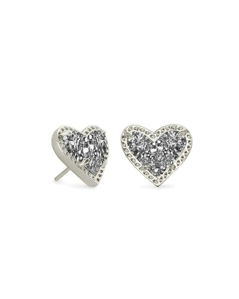 Kendra Scott Ari Heart Silver Stud Earrings in Platinum Drusy