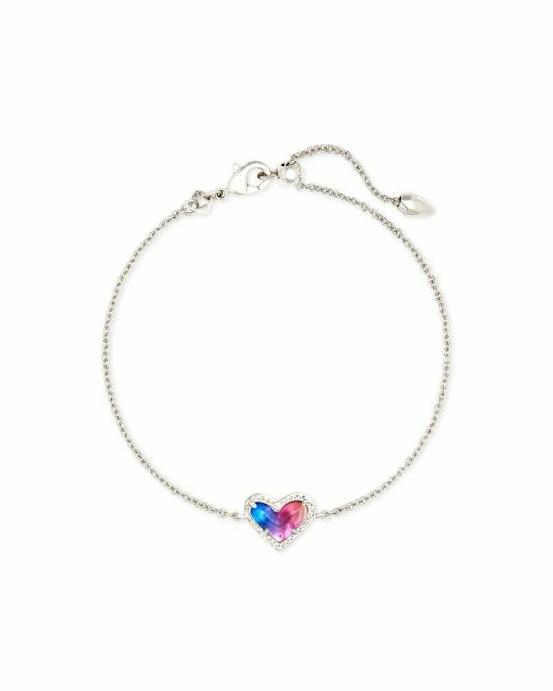 Kendra Scott Ari Heart Silver Chain Bracelet in Watercolor Illusion