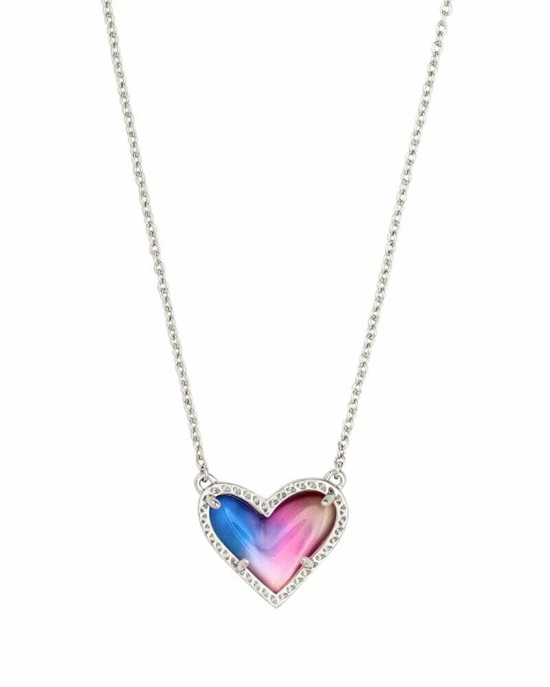 Kendra Scott Ari Heart Silver Pendant Necklace in Watercolor Illusion