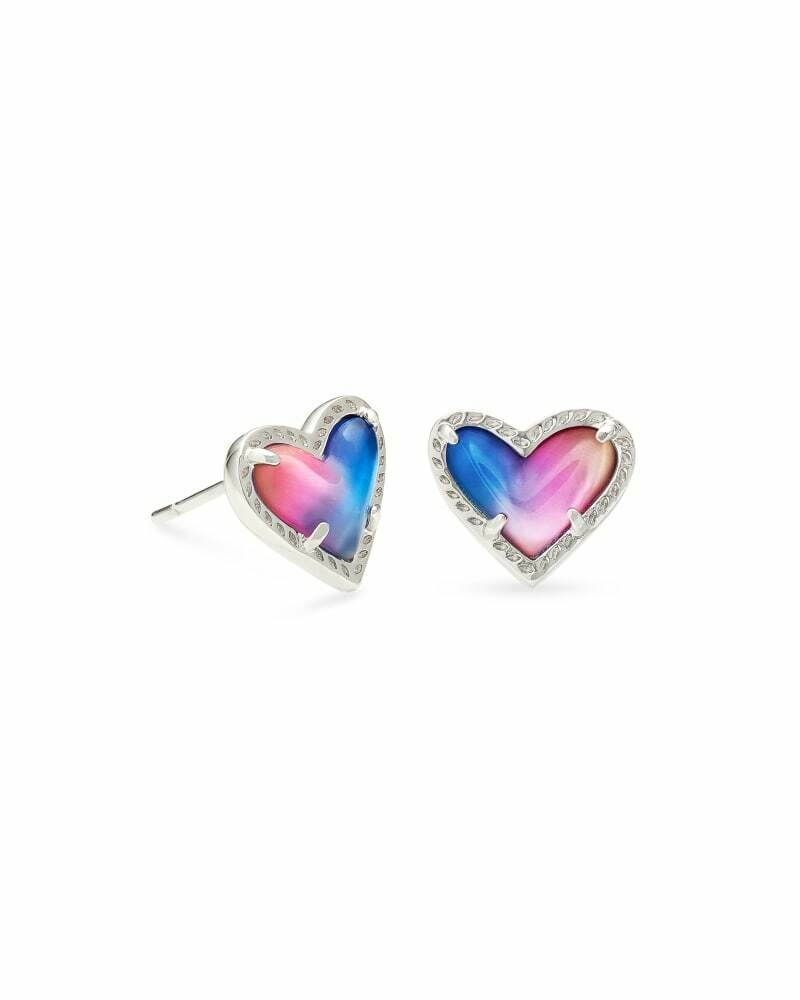 Kendra Scott Ari Heart Silver Stud Earrings in Watercolor Illusion