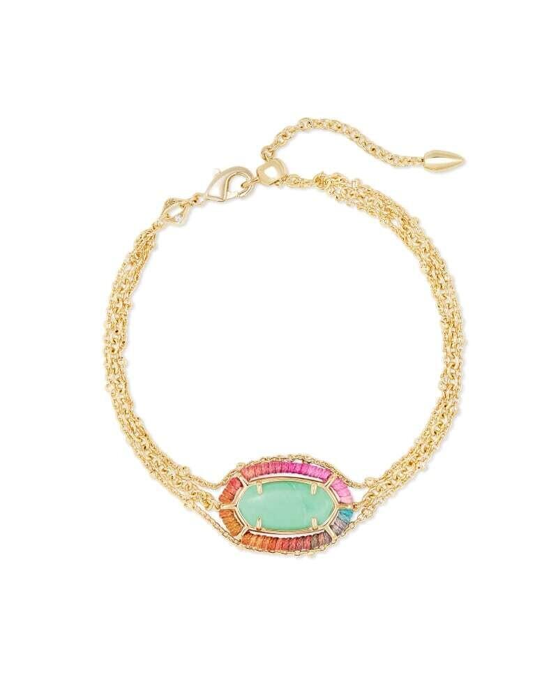 Kendra Scott Threaded Elaina Gold Multi Strand Bracelet in Mint Magnesite