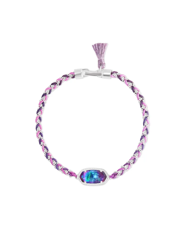 Kendra Scott Elaina Silver Braided Friendship Bracelet in Lilac Abalone
