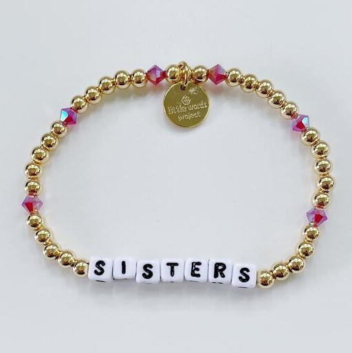 Little Words Project White SISTERS Bracelet (Gold-Filled/Pink Crystal)