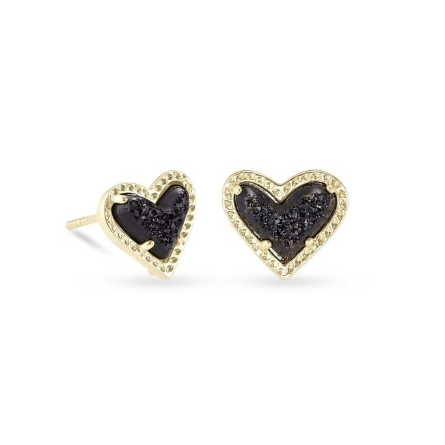 Kendra Scott Ari Heart Gold Stud Earrings in Black Drusy