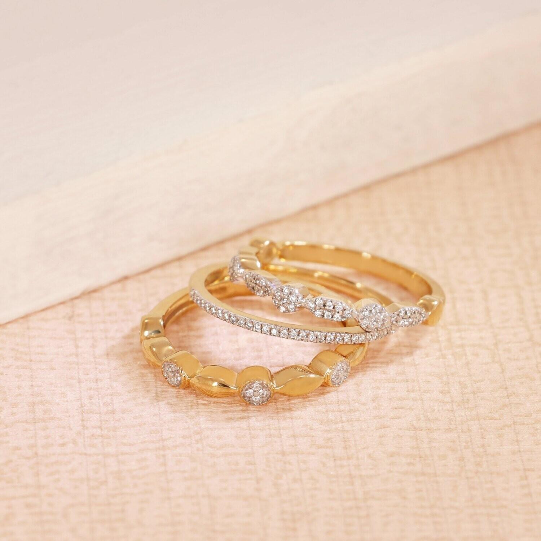 Ella Stein Shiny Three Ring Stack (Gold)