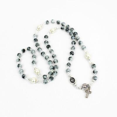MSMH Rosary Wrap Bracelet (Gray/Pearl)