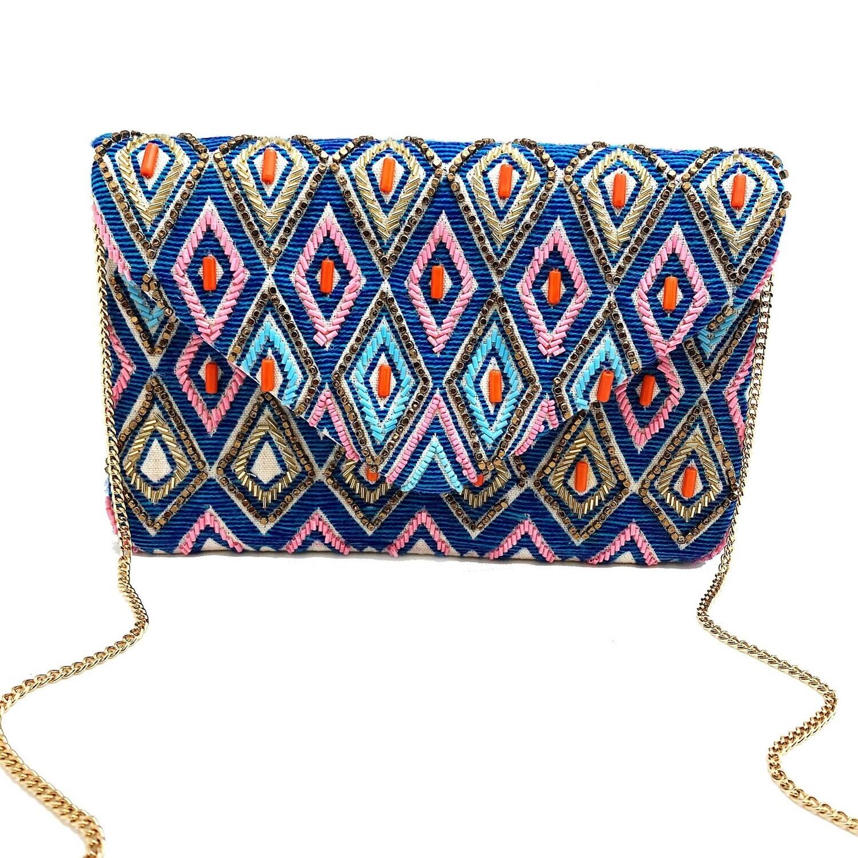 La Chic Blue Rhombus Beaded Bag