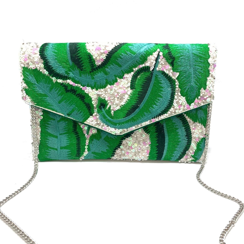 La Chic Palm Leaf Embroidered Bag