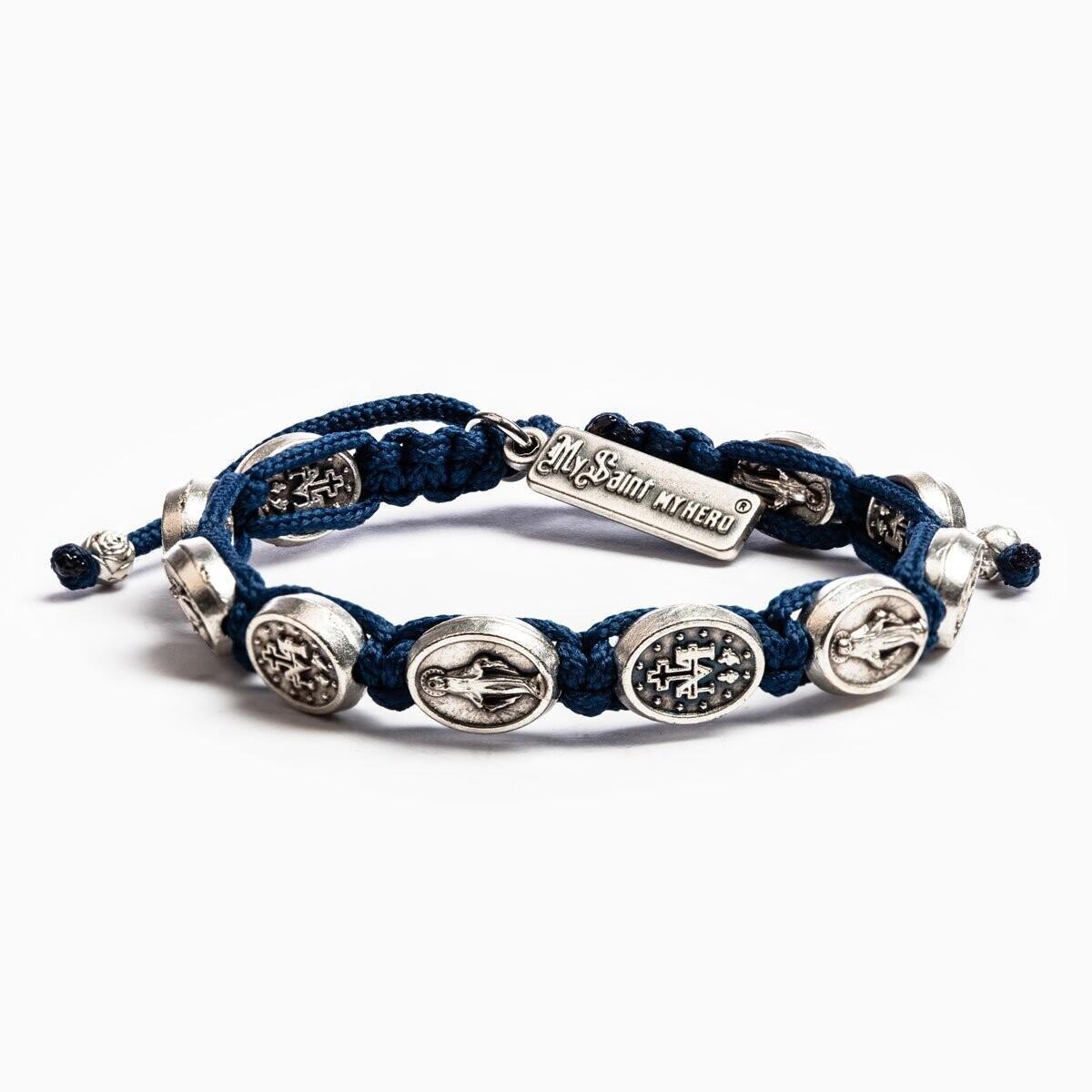 MSMH Miraculous Mary Blessing Bracelet (Silver/Navy Blue)