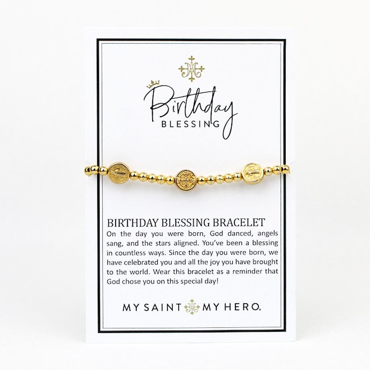 MSMH Benedictine Birthday Blessing Bracelet (Gold)
