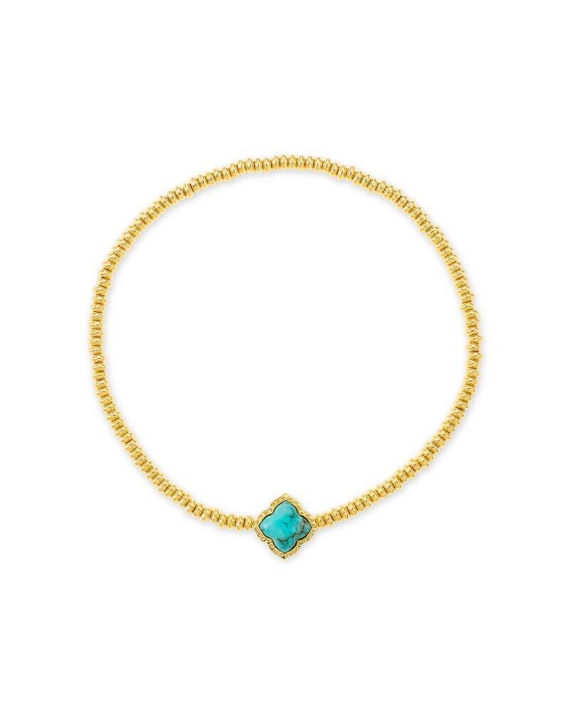 Kendra Scott Mallory Gold Stretch Bracelet in Variegated Turquoise Magnesite