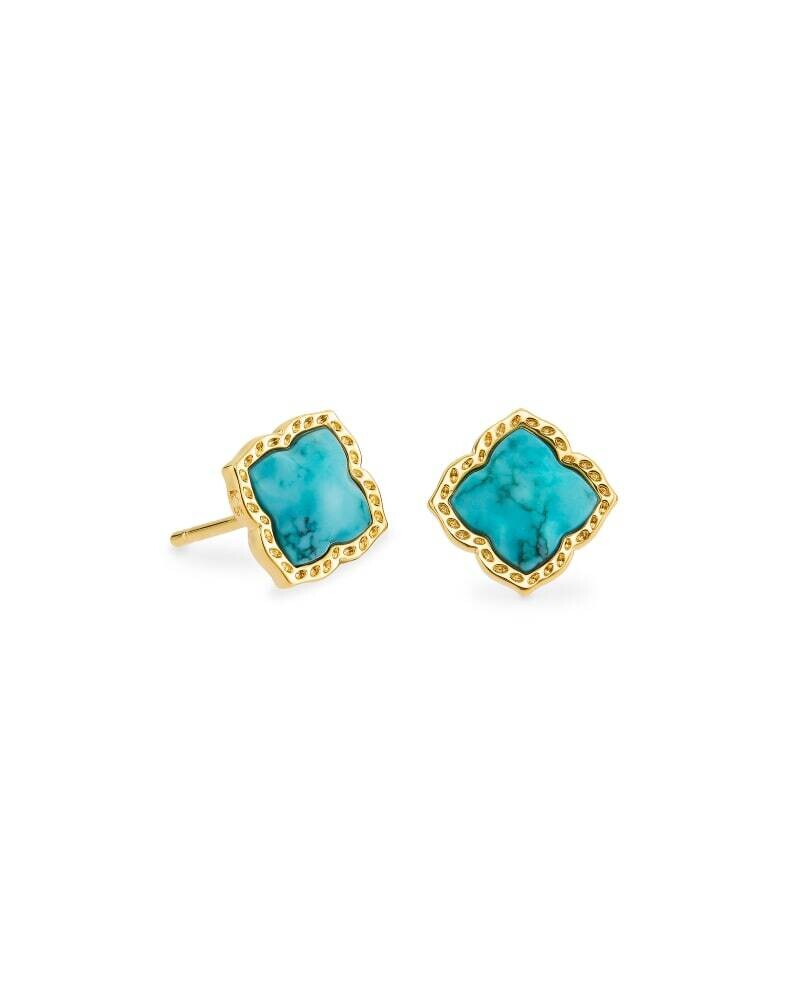 Kendra Scott Mallory Gold Stud Earrings in Variegated Turquoise Magnesite