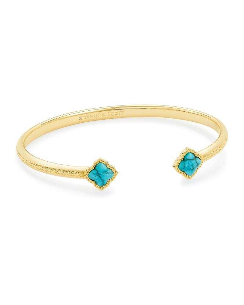 Kendra Scott Mallory Gold Cuff Bracelet in Variegated Turquoise Magnesite