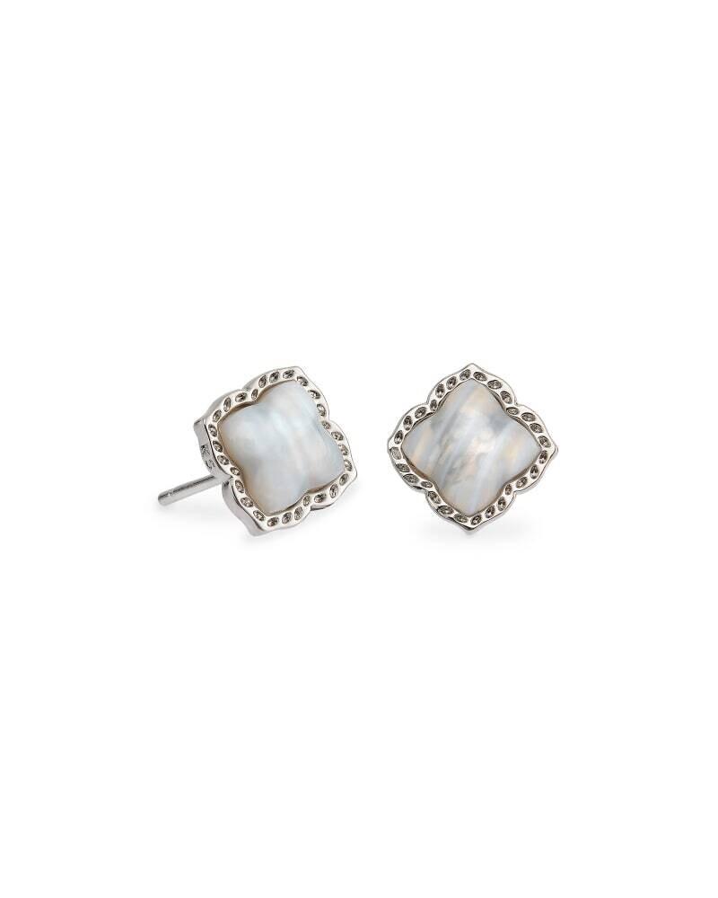 Kendra Scott Mallory Silver Stud Earrings in Gray Banded Agate