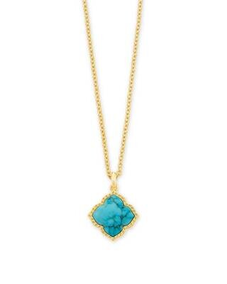Kendra Scott Mallory Gold Pendant Necklace in Variegated Turquoise Magnesite