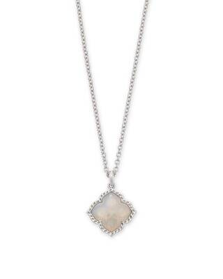 Kendra Scott Mallory Silver Pendant Necklace in Gray Banded Agate