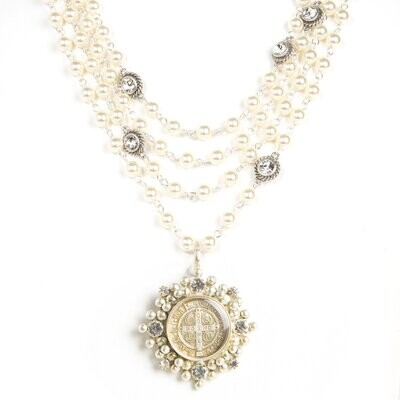VSA Magdalena Necklace in 6mm Crystal Pearl (Silver)