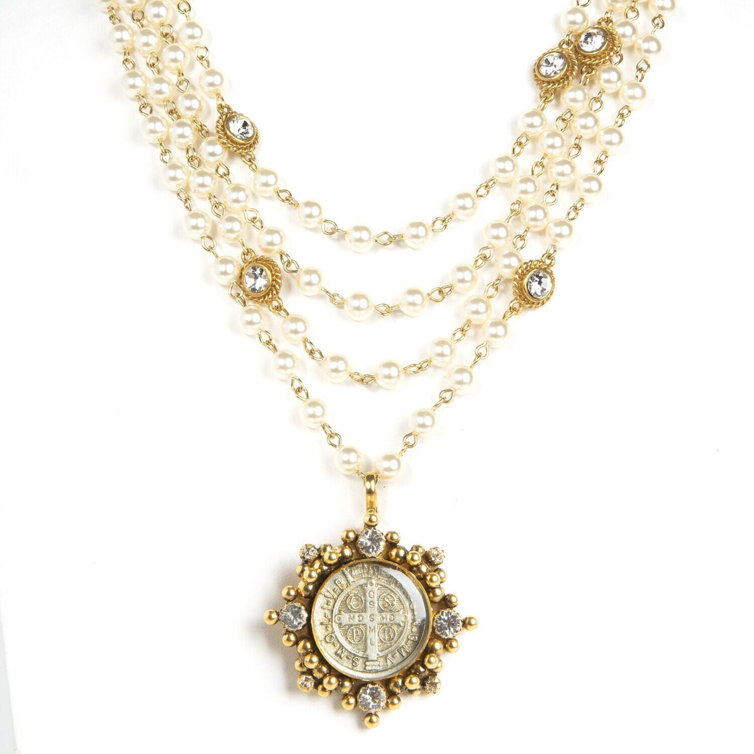 VSA Magdalena Necklace in 6mm Crystal Pearl (Gold)