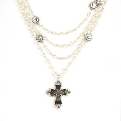 VSA Cross Magdalena in 4mm Crystal Pearl (Silver)